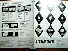 1958 RICHMOND Plumbing Fixtures BATHROOM Kitchen Laundry Tub Sink VTG Catalog