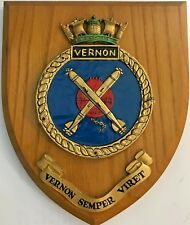 HMS VERNON ROYAL NAVY SHIP'S BADGE/CREST on WOODEN PLAQUE  6 X 7 Inches