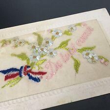 CPA Brodée De Tout Coeur Carte Ancienne Antique Post Card Embroidery