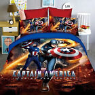 Captain America Single Size Bed Quilt Doona Duvet Cover Set Bedding Pillow Case