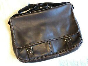 Bill Amberg brown calfskin leather laptop bag satchel briefcase, shoulder strap