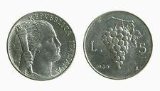 pci3636) Italia Repubblica in Italma - 5 Lire 1949 Uva