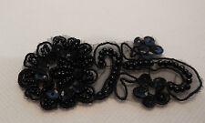 Black sequins beads floral lace Applique / shoes lace motif in small size8x3.5cm
