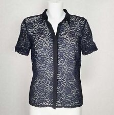NEXT navy Blue Lace Classic collar Short sleeve Button Shirt top blouse size 10