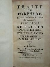 TRAITE DE PORPHYRE touchant l'abstinence de la chair des animaux / Génies, 1747.