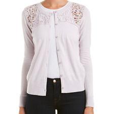 CAbi Size S Lilac Lace Yoke Cardigan Sweater Top NWT $128 Cotton Blend #184
