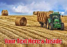 Personnalisé tracteur presse à balles de foin agriculture Anniversaire Toute Occasion carte + insert
