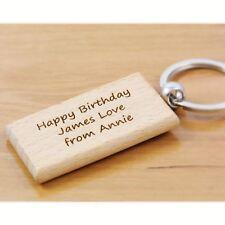 Happy Birthday Personalised Wooden Keyring - Engraved Keyring, Wooden Key Rings