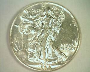 1938 WALKING LIBERTY HALF ABOUT UNCIRCULATED+ AU+ NICE ORIGINAL COIN BOBS COINS
