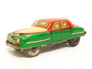 "Vintage Tin Litho Friction Toy Car KING 3"" Hot Rod Sedan Racer Japan 1954"