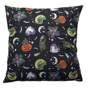 """16"""" Square Cushion Cover - Salem Cats Pumpkins Bats Ghosts Gothic Halloween Gift"""