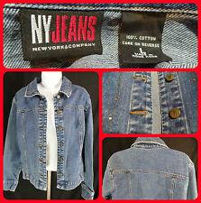 Women's New York & Company Jeans Jacket Denim Cotton Excellent Condition Blue L