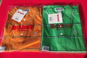2 NWT BOAST Men's Short Sleeve Striped POLO SHIRT Medium Green&Orange W/Pot Leaf