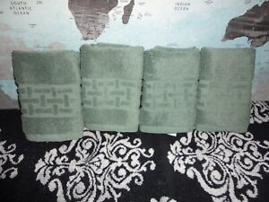 RALPH LAUREN PIERCE WATER GREEN (4PC) SET WASHCLOTHS FACE CLOTHS TOWELS 13 X 13