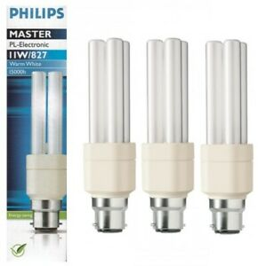 x 3 Philips 11w PL-Electronic Compact Fluorescent Lamps - Extra Warm White / 827