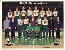 1990/91 Milwaukee Bucks Team Photo from Brewer Who