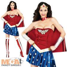Sexy Wonder Woman Ladies Fancy Dress Superhero Womens Adults Costume Outfit