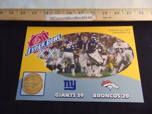 The Danbury Mint NFL Super Bowl Flip Coin Super Bowl 21 NY Giants v Denver Bronc