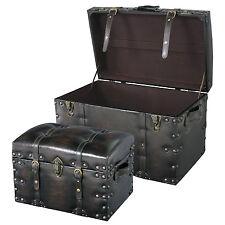 Trunk Stool Storage Decorative Box Black Chest Ottoman Travel Style 2-PCS IW-876