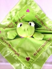 Green Frog Security Blanket Baby Critter Christian Scripture Embroidery
