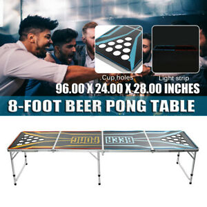 BEER PONG TABLE 8ft FOLDING Party Drinking Game Birthday Event H R