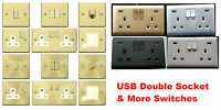 Electrical Plug Switch Socket - White Silver Gold Black Chrome Brass Glossy Matt