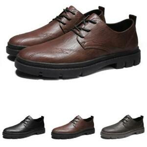 Mens Round Toe Work Offie Non-slip Low Top Faux Leather Business Leisure Shoes L
