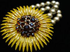 Flower Daisy Topaz Crystal Bracelet Vintage Gold Tone Yellow Enamel Sun