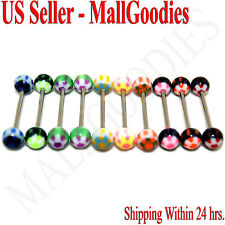 """W024 Acrylic Tongue Rings Barbell 14G Bar 5/8"""" 16mm Flower Shape LOT of 10"""