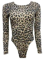 women's long sleeve animal leopard print ladies leotard bodysuit 8-22