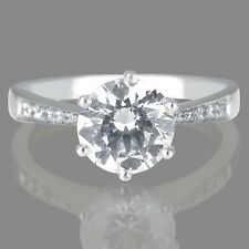 1 CT Certified Diamond Engagement Ring Round Cut F/SI1 14K White Gold Enhanced