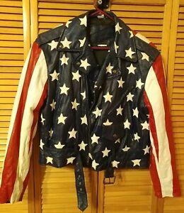 Vintage All American Rider American Flag Leather Biker Jacket