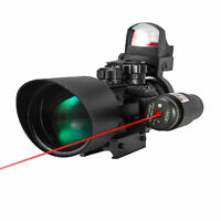 3-10X40EG Crosshair Rifle Scope with Red Dot Sight & Red Laser Sight 3in1 Combo