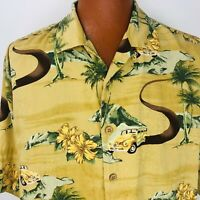 Urgent Gear Hawaiian Aloha Large Shirt Yellow Green Woodies Hibiscus Palm Trees