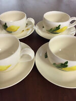Cup of Gold Santa Anita Ware Flowers of Hawaii china 4 cups & 4 saucers