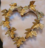 "Vtg Heart Wreath Brasstone Ivy Leaves Metal Wall Art 10"" x 9.5"""