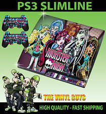 Playstation PS3 SLIM AUTOCOLLANT MONSTER HIGH vampire Loup Zombie peau & 2 pad skins
