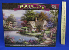 1500 Deluxe Jigsaw Puzzle Large Swan Cottage w/ Flowering Garden Lake Pond