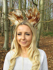 Brown Cream Feather Cat Animal Ears Headband Hair Band Headpiece Festival 2025