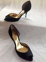 Nicole Miller Peep Toe Black Heel Pumps 10B/40