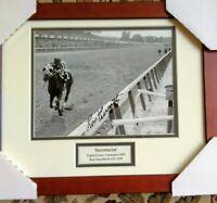 Secretariat signed photograph BELMONT Ron Turcotte autograph HEAD ON Prof. frame