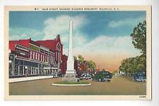 Main Street Walhalla, South Carolina Linen Postcard