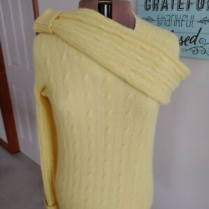 Andre Oliver By Drumohr 100% Cashmere Yellow Cable Knit Crewneck Sweater S / M