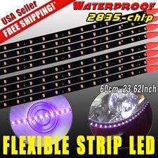 8X Waterproof Flexible Strip 60cm Car Motorcycle 2835 LED Lights Pure Purple 12V