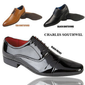 MENS FAUX LEATHER SHINY ITALIAN CASUAL FORMAL BROGUE OXFORD OFFICE SMART SHOES