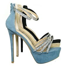 Malia01 Rhinestone High Heel Platform Dress Sandals - Women Ankle Strap Heels
