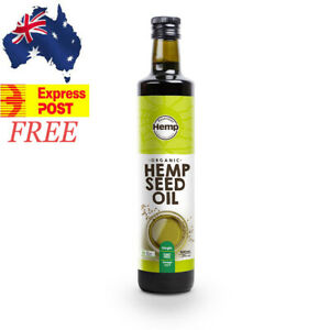 500ml EXPRESS POST CERTIFIED ORGANIC HEMP SEED OIL AUSTRALIAN GROWN COLD PRESSED