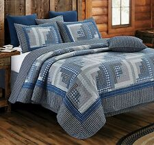 LOG CABIN BLUE * King * QUILT SET : COUNTRY PRIMITIVE MONTANA HOMESPUN LODGE