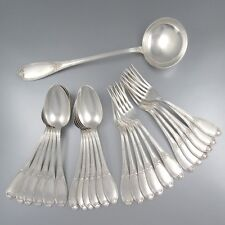 Antique French Silver Plate Flatware Set for Twelve, 25 pcs, Félix Frères