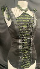 SDL Raven Black /Green Cotton/lace Top With Chains And Cuffs